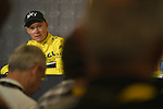 Race leader Yellow Jersey Chris Froome (GBR) Team Sky talks to the media Stage 20 of the 104th edition of the Tour de France 2017, an individual time trial running 22.5km from Marseille to Marseille, France. 22nd July 2017.<br /> Picture: ASO/Bruno Bade | Cyclefile<br /> <br /> <br /> All photos usage must carry mandatory copyright credit (&copy; Cyclefile | ASO/Bruno Bade)