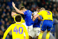 4th March 2020; King Power Stadium, Leicester, Midlands, England; English FA Cup Football, Leicester City versus Birmingham City; Kristian Pedersen of Birmingham City attempts to head at a corner under pressure from Jonny Evans and Wilfred Ndidi of Leicester City