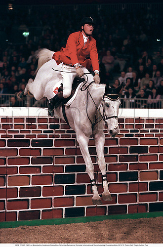 RENE TEBBEL (GER) on Renometto, Andersen Consulting Christmas Puissance, Olympia International Show Jumping Championships, 001215. Photo: Neil Tingle/Action Plus...2000 showjumping showjumper.showjumpers.equestrian sport sports