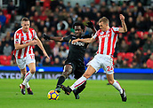 2nd December 2017, bet365 Stadium, Stoke-on-Trent, England; EPL Premier League football, Stoke City versus Swansea City;  Wilfried Bony of Swansea City and Darren Fletcher of Stoke City challenge for the ball