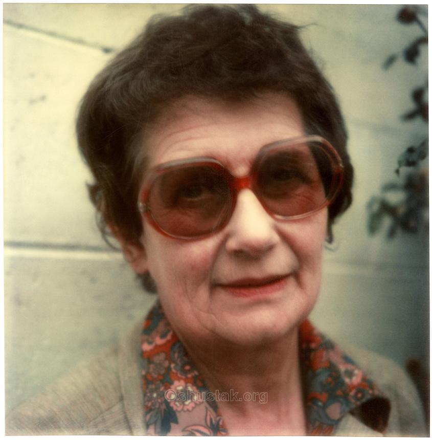 Doris Lusk, artist (1916 - 1990) SX-70 photograph c.1976.