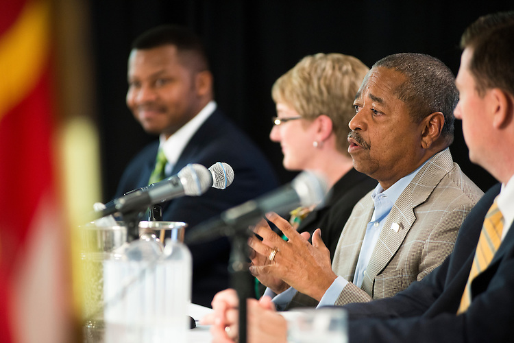 """Ohio University President Dr. Roderick J. McDavis speaks as a part of a pannel at a Symposium at Alden Library from 11 to noon, titled """"The African American Student Experience Through the Decades"""" hosted by the Black Alumni Reunion on Saturday, September 28, 2013."""