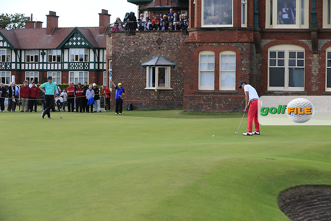Paul Dunne (IRL), Maverick McNealy (USA) during the afternoon singles for the Walker cup Royal Lytham St Annes, Lytham St Annes, Lancashire, England. 13/09/2015<br /> Picture Golffile | Fran Caffrey<br /> <br /> <br /> All photo usage must carry mandatory copyright credit (&copy; Golffile | Fran Caffrey)