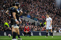 Owen Farrell of England takes a penalty kick during the RBS 6 Nations match between England and Scotland at Twickenham on Saturday 02 February 2013 (Photo by Rob Munro)