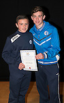 St Johnstone FC Academy Awards Night...06.04.15  Perth Concert Hall<br /> Craig Thomson presents a certificate to Ryan Ndogaj<br /> Picture by Graeme Hart.<br /> Copyright Perthshire Picture Agency<br /> Tel: 01738 623350  Mobile: 07990 594431