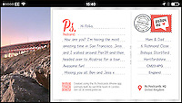 BNPS.co.uk (01202 558833)<br /> Picture: PsPostcards/BNPS<br /> <br /> Wish you were here!<br /> <br /> A revolutionary app has been invented that will send postcards for lazy holidaymakers who struggle to find the time themselves.<br /> <br /> Instead of rushing to the shops to find a stamp or struggling to locate a post box when abroad, the new mobile phone application will post the message for just &pound;1.49.<br /> <br /> The programme allows a user to upload their own photo or choose from a range of pre-loaded pictures for the front of the card and will print their own message on the back.