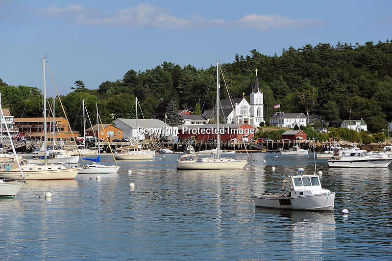 Boats Moored in Boothbay Harbor, Maine, USA