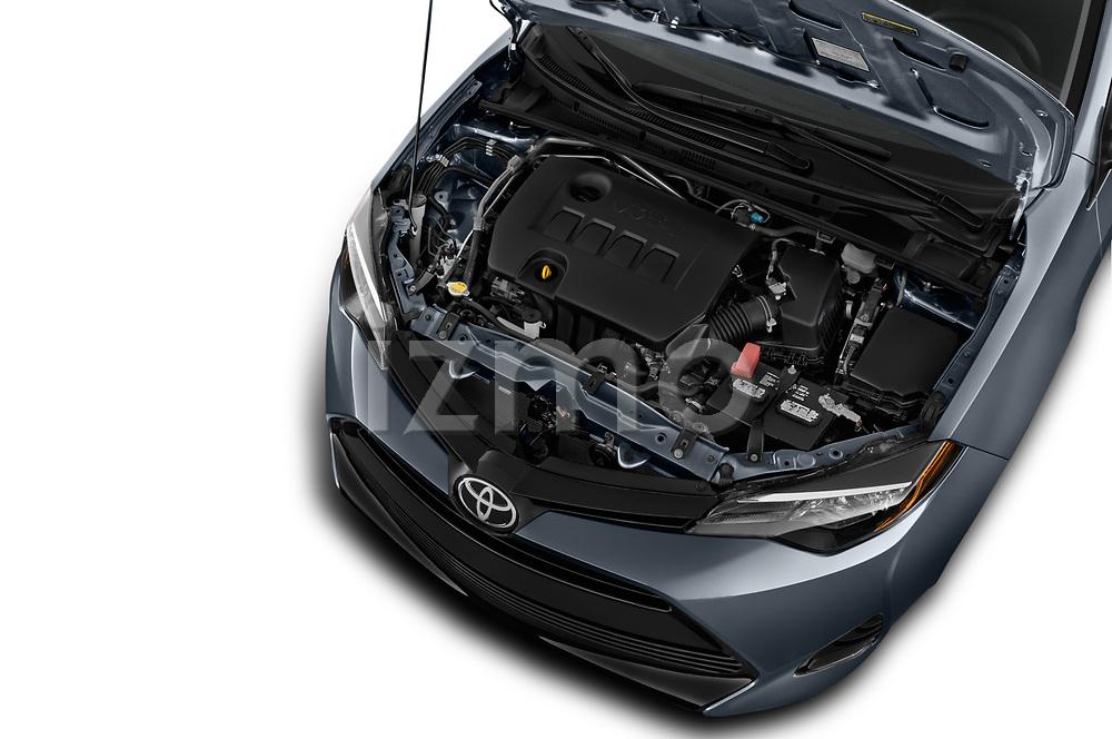 Car stock 2018 Toyota Corolla L 4 Door Sedan engine high angle detail view
