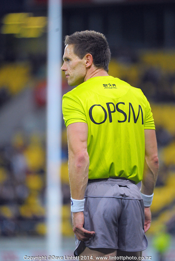 A boundary umpire watches play during the ANZAC Day AFL match between St Kilda Saints and Brisbane Lions at Westpac Stadium, Wellington, New Zealand on Friday, 25 April 2014. Photo: Dave Lintott / lintottphoto.co.nz