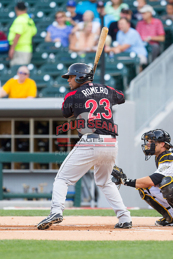 Deibinson Romero (23) of the Rochester Red Wings at bat against the Charlotte Knights at BB&T Ballpark on June 5, 2014 in Charlotte, North Carolina.  The Knights defeated the Red Wings 7-6.  (Brian Westerholt/Four Seam Images)