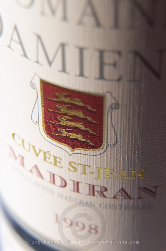 Bottle of Domaine Damiens Cuvee St Jean detail of label Madiran France