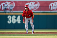 Springfield Cardinals Irving Lopez (11) leads off during a Texas League game against the Frisco RoughRiders on May 4, 2019 at Dr Pepper Ballpark in Frisco, Texas.  (Mike Augustin/Four Seam Images)