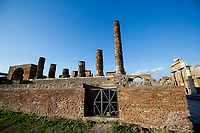 Pompei (Campania, Italy), 01/01/2017. Visiting the ancient Roman city of Pompei (in Latin: Pompeii). The city, founded in the IX century BC, is located near Naples, in the Campania region, in the South of Italy. <<[…] Pompeii, along with Herculaneum and many villas in the surrounding area, was mostly destroyed and buried under 4 to 6 m (13 to 20 ft) of volcanic ash and pumice in the eruption of Mount Vesuvius in AD 79. Researchers believe that the town was founded in the 7th or 6th century BC by the Osci or Oscans. It came under the domination of Rome in the 4th century BC, and was conquered and became a Roman colony in 80 BC after it joined an unsuccessful rebellion against the Roman Republic. By the time of its destruction, 160 years later, its population was estimated at 11,000 people, and the city had a complex water system, an amphitheatre, a gymnasium, and a port. The eruption destroyed the city, killing its inhabitants and burying it under tons of ash. […] The site was lost for about 1,500 years […]. The objects that lay beneath the city have been preserved for more than a millennium because of the long lack of air and moisture. These artefacts provide an extraordinarily detailed insight into the life of a city during the Pax Romana. During the excavation, plaster was used to fill in the voids in the ash layers that once held human bodies. This allowed archaeologists to see the exact position the person was in when he or she died. […] Today Pompeii has UNESCO World Heritage Site status and is one of the most popular tourist attractions in Italy […]>> (Source - Wikipedia.org). Visitors of the last three years: 2015: 2.978.884; 2016: 3.209.089; 2017: 3.418.733 (Data to be found at: http://bit.ly/2B4X9fI ). On the day of this reportage, Pompeii was visited by 6.793 people.<br />