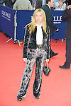 """Josephine de la Baume poses on the red carpet before the screening of the film """"The Man from U.N.C.L.E."""" during the 41st Deauville American Film Festival on September 11, 2015 in Deauville, France"""