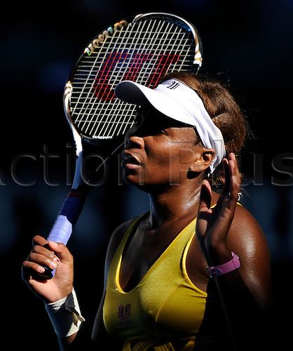 19.01.2011 Australian Open Tennis from Melbourne Park. Venus Williams of the USA reacts in her match against Sandra Zahlavova of the Czech Republic on day three of the 2011 Australian Open at Melbourne Park, Melbourne, Australia.