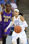 30 December 2014: North Carolina's Jessica Washington (24) and Albany's Shereesha Richards (JAM) (25). The University of North Carolina Tar Heels hosted the University at Albany Great Danes at Carmichael Arena in Chapel Hill, North Carolina in a 2014-15 NCAA Division I Women's Basketball game. UNC won the game 71-56.