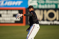 San Jose Giants outfielder Heliot Ramos (13) warms up before a California League game against the Visalia Rawhide on April 12, 2019 at San Jose Municipal Stadium in San Jose, California. Visalia defeated San Jose 6-2. (Zachary Lucy/Four Seam Images)