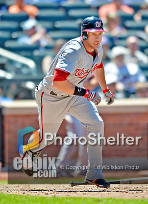 25 July 2012: Washington Nationals outfielder Corey Brown in action against the New York Mets at Citi Field in Flushing, NY. The Nationals defeated the Mets 5-2 to sweep their 3-game series. Mandatory Credit: Ed Wolfstein Photo