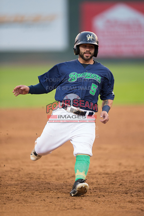 Jose Gomez (5) of the Helena Brewers hustles towards third base against the Orem Owlz at Kindrick Legion Field on August 17, 2017 in Helena, Montana.  The Owlz defeated the Brewers 5-2.  (Brian Westerholt/Four Seam Images)