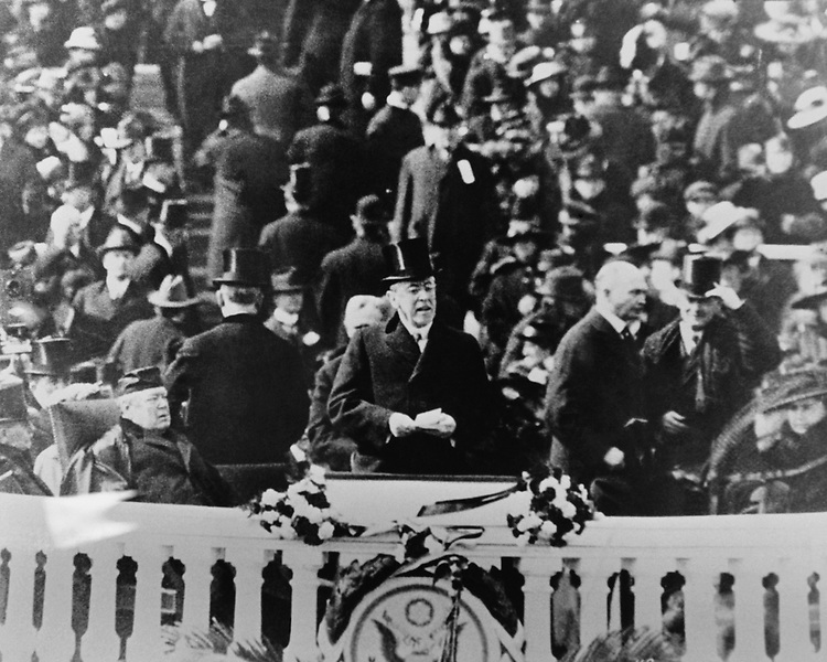 President Woodrow Wilson Inauguration on Capitol Hill, in 1917.  Photo From the Library of Congress, taken in January 1997. (Photo by CQ Roll Call via Getty Images)