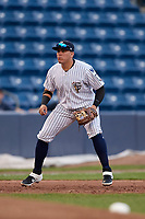 Staten Island Yankees third baseman Andres Chaparro (30) during a NY-Penn League game against the Aberdeen Ironbirds on August 22, 2019 at Richmond County Bank Ballpark in Staten Island, New York.  Aberdeen defeated Staten Island 4-1 in a rain shortened game.  (Mike Janes/Four Seam Images)