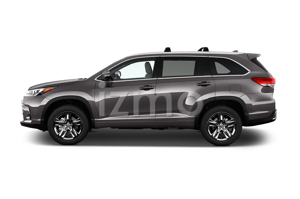 Car Driver side profile view of a 2018 Toyota Highlander Limited-Platinum 5 Door SUV Side View