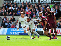 Pictured: (L-R) Michu, Wayne Routledge, Pablo Zabaleta, Vincent Kompany.<br />