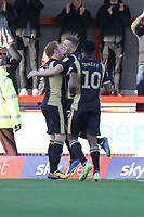 Rhys Healey (centre) of MK Dons celebrates his goal in the first half during Crawley Town vs MK Dons, Sky Bet EFL League 2 Football at Broadfield Stadium on 3rd November 2018