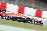 19.02.2013 Montmelo, Barcelona, Spain. Pre-seasson testing day 1. Picture show Marussia F1 Max Chilton driving MR02 at Circuit de Catalunya