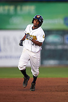 Burlington Bees outfielder Ayendy Perez (32) running the bases during a game against the Clinton LumberKings on August 20, 2015 at Community Field in Burlington, Iowa.  Burlington defeated Clinton 3-2.  (Mike Janes/Four Seam Images)