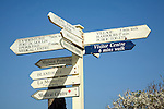 Signpost showing distances in time and direction, Island of Sark, Channel Islands, Great Britain