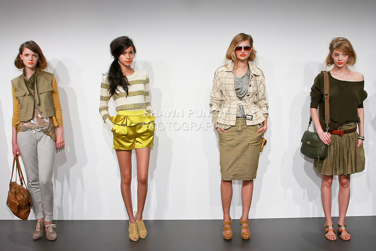 Models pose in J. Crew Spring 2011 women's outfits by Marissa Webb, during the J. Crew Women's Spring 2011 Collection Presentation.