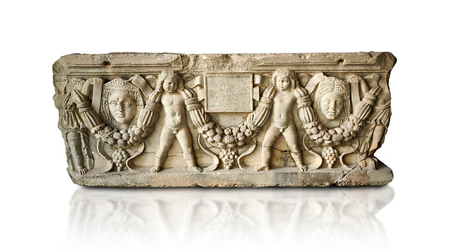 Roman relief sculpted garland sarcophagus with cherubs, 3rd century AD. Adana Archaeology Museum, Turkey. Against a white background