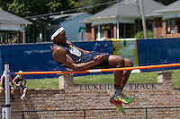 Antonioa Norman of Cleveland NJROTC tries to clear the bar in the Class 2 high jump at the Missouri Class 1 and 2 State Track and Field Championships in Jefferson City, Saturday, May 21. Norman cleared 6-2 to place eighth and earn All-State honors.