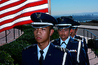 Members of th San Diego State AFROTC present the colors during a ceremony on Mount Soledad.  Brigadier General James Maitland Stewart, United States Air Force, a highly decorated WWII pilot was honored with a special plaque during at a dedication ceremony attended by his daughter and other family members.  Stewart, who would have been 100 years old this year was better known to most of the world as a highly acclaimed Hollywood actor.