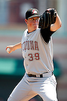 June 25, 2009:  Pitcher Mike Crotta (39) of the Altoona Curve delivers a pitch during a game at Jerry Uht Park in Erie, PA.  The Altoona Curve are the Eastern League Double-A affiliate of the Pittsburgh Pirates.  Photo by:  Mike Janes/Four Seam Images