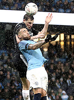 Burnley's Chris Wood vies for possession with Manchester City's Nicolas Otamendi<br /> <br /> Photographer Rich Linley/CameraSport<br /> <br /> Emirates FA Cup Fourth Round - Manchester City v Burnley - Saturday 26th January 2019 - The Etihad - Manchester<br />  <br /> World Copyright © 2019 CameraSport. All rights reserved. 43 Linden Ave. Countesthorpe. Leicester. England. LE8 5PG - Tel: +44 (0) 116 277 4147 - admin@camerasport.com - www.camerasport.com