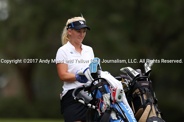 WILMINGTON, NC - OCTOBER 28: Kentucky's Claire Carlin on the 12th tee. The second round of the Landfall Tradition Women's Golf Tournament was held on October 28, 2017 at the Pete Dye Course at the Country Club of Landfall in Wilmington, NC.