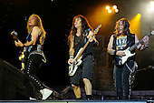IRON MAIDEN - Janick Gers, Steve Harris, Dave Murray - performing live on Day Three on the Lemmy Stage at the Download Festival at Donington Park UK - 12 Jun 2016.  Photo credit: Zaine Lewis/IconicPix