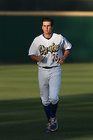 Tim Locastro (25) of the Rancho Cucamonga Quakes warms up before a game against the High Desert Mavericks at LoanMart Field on August 3, 2015 in Rancho Cucamonga, California. Rancho Cucamonga defeated High Desert, 2-1. (Larry Goren/Four Seam Images)