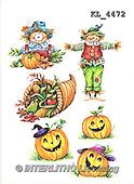 Interlitho, STILL LIFE STILLLEBEN, NATURALEZA MORTA, paintings+++++,2 scarecrow,3 pumpkins,KL4472,#i# stickers,halloween, pumpkin,