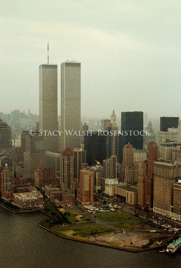 New York, NY -- Circa 1990 -- Aerial view of Lower Manhattan and the World Trade Center in the rain.