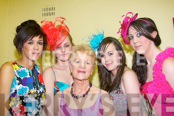 Glam Girls: Models who took to the cat walk at St Brendan's youth club hall, ,last Friday night in aid of the palative care unit,KGH,Tralee were L-R Alicia Jah,Mairead O'Connell,Nellie Brosnan,Niamh O'Connor and Deirdre Laffan.