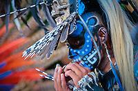 Quer&eacute;taro, Qro. 14 de septiembre 2015. Este lunes contin&uacute;an los festejos de la Fiesta Grande de la Exaltaci&oacute;n de la Santa Cruz de los Milagros. Distintos grupos de danzantes se presentan alrededor del Templo de la Cruz. <br /> Foto: Victor Pichardo / Obture Press Agency