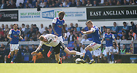 Swansea City's Oliver McBurnie battles with Ipswich Town's Luke Chambers<br /> <br /> Photographer Hannah Fountain/CameraSport<br /> <br /> The EFL Sky Bet Championship - Ipswich Town v Swansea City - Monday 22nd April 2019 - Portman Road - Ipswich<br /> <br /> World Copyright © 2019 CameraSport. All rights reserved. 43 Linden Ave. Countesthorpe. Leicester. England. LE8 5PG - Tel: +44 (0) 116 277 4147 - admin@camerasport.com - www.camerasport.com