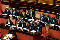 Giuseppe Conte during his speech surrounded by Ministers<br /> Rome December 12th 2019. Speech of the Italian Premier about MES, European Stability Mechanism.<br /> Foto Samantha Zucchi Insidefoto