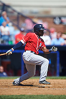 New Hampshire Fisher Cats left fielder Dwight Smith Jr. (25) at bat during a game against the Reading Fightin Phils on June 6, 2016 at FirstEnergy Stadium in Reading, Pennsylvania.  Reading defeated New Hampshire 2-1.  (Mike Janes/Four Seam Images)