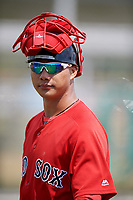 Boston Red Sox Justin Qiang (25) during a Minor League Spring Training game against the Baltimore Orioles on March 20, 2018 at Buck O'Neil Complex in Sarasota, Florida.  (Mike Janes/Four Seam Images)