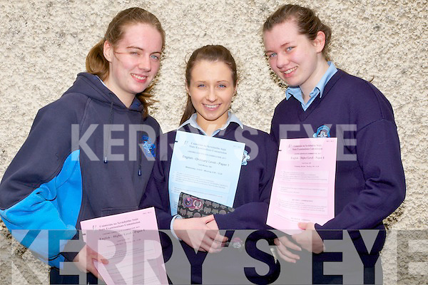 SMILING; Students who were happy with their first paper English from St Joseph's Convent secondry school, Castleisland on their Leaving Cert day Wednesday. L-r: Sinead and Maeve O'Leary and Maggie O'Sullivan (Currow).