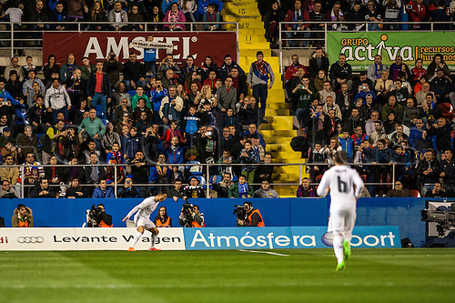 02.03.2016. Valencia, Spain. La Liga football. Levante versus Real Madrid.   Cristiano Ronaldo celebrates his goal for Real Madrid in the 34th minute from the penalty spot